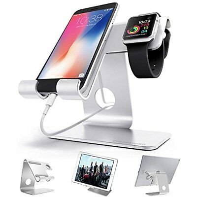 2in1 Aluminium Desktop Charging Stand Silver iWatch Smartphone Tablets Organized