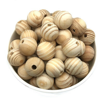 30Pcs Round Stripe Natural Pine Wood Beads DIY Unfinished Baby Teething Jewelry