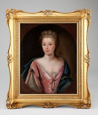 18th Century Portrait Aristocratic Lady Antique Oil Paintings English School