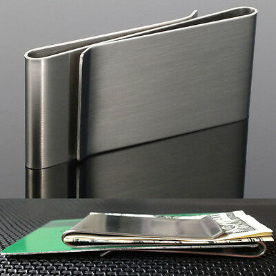 Double Sided Slim Stainless Steel Money Clip Credit Card Note Cash Holder AU