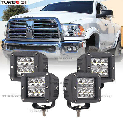 4x LED Cube Fog Light Kit Lower Bumper Lamps For 09-17 Dodge Ram 1500 2500 3500