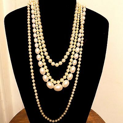 Assorted Lot of Four Costume Jewelry Strands of Pearl Necklaces Different Clasps