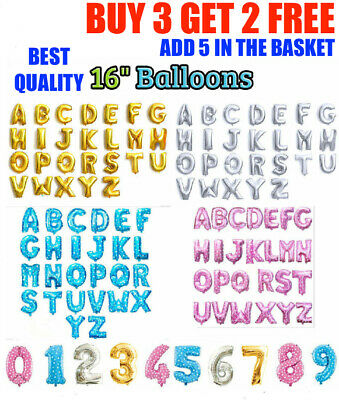 """Self Inflating 16"""" INCH Foil Number & Letters BALLOONS Happy Birthday Ballons UK"""
