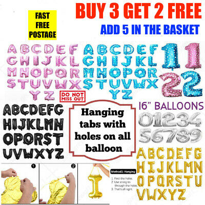 """MADE YOUR OWN SELF INFLATING 16/"""" Letter Number Foil Balloons Gold Silver Pink UK"""