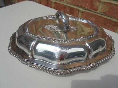 Old Antique English Sheffield Silverplate Covered Serving Dish Pie Crust Edge