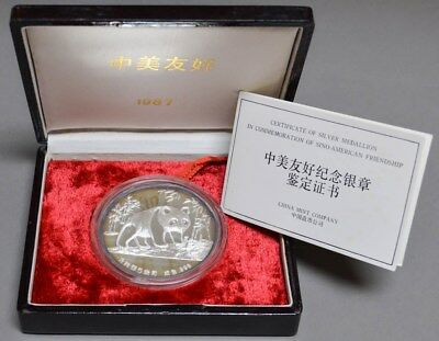 1987 China Silver 5oz .999 Sino-American Friendship With Original Box & Papers
