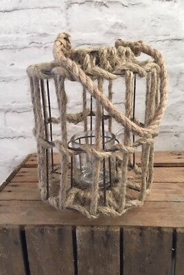 Lantern Large Natural Rope and Cast Iron Handle Glass Candle Holder Rustic
