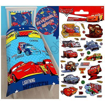Disney Cars Piston Single Rotary Duvet Cover + Free Small Foil Stickers Kids New