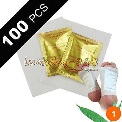 100 pcs Fresh Lot Gold Premium Foot Pads Patches Detox Patches + 100 Adhesives