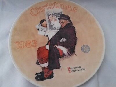 1983 Santa In The Subway Limited Edition Norman Rockwell Christmas Plate Vintag
