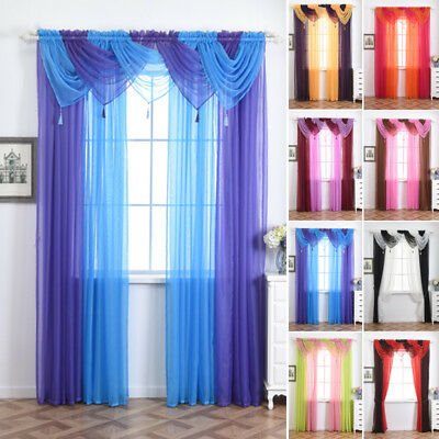 Colorful Tulle Voile Bedroom Door Window Curtain Drape Panel Sheer Scarf Valance