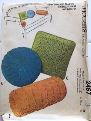 Vintage (1961) McCall's #2467, transfer patterns for 3 smocked pillows