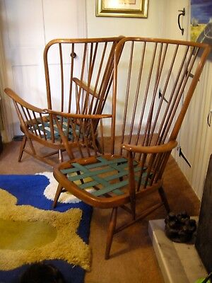 Ercol Retro chair x 2 Evergreen high back, excellent Condition,sold as pair