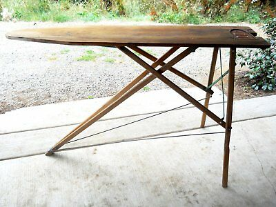 Rustic Antique Wood Green Metal Ironing Board Rare Iron Sole Plate Primitive