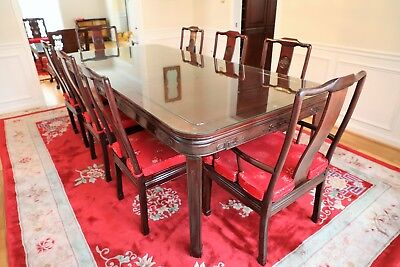 Authentic Chinese rosewood dining set / dining table with 8 chairs - MINT