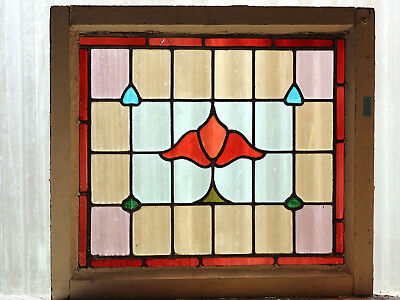 Antique Stained Glass Window Eight Color Nouveau Tulip