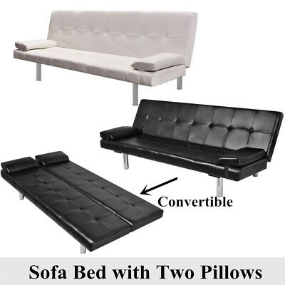 Artificial Leather Convertible Sofa Bed Sleeper Futon Reclining Couch Lounge
