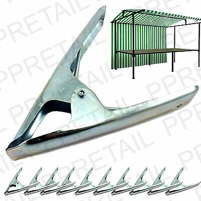 12x LARGE METAL HEAVY DUTY MARKET STALL SPRING CLAMPS Tarpaulin Sheet Cover Clip