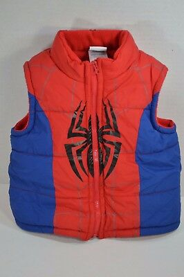 SpiderMan Boys Zip up Puffer Vest Size 2T Blue And Red