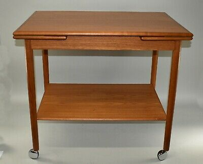 Danish Mid Century Modern Teak Wheeled Bar Serving Cart By Dyrlund
