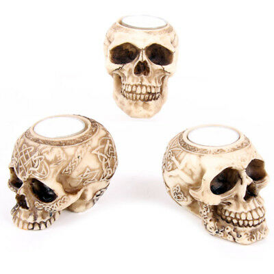 Gothic Celtic Skull Head Tea Light Candle Holder Night Lamp Home Decoration Gift
