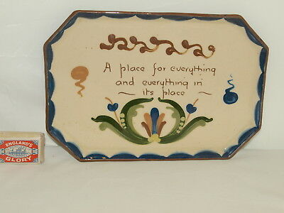 """Watcombe Pottery 10.5"""" Wide Dressing Table Tray With Scandy Decoration & Motto"""