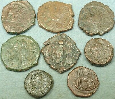 Lot Of 8 Byzantine Bronze Coins