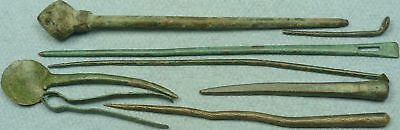 Lot Of 8 Misc. Ancient Bronze Medical / Cosmetic Tools