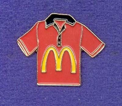 RED Color McDonalds Restaurant Golden Arches Crew Polo Shirt Shaped Lapel Pin