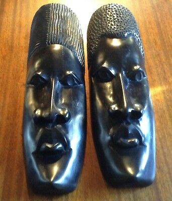 Beautiful Pair Large Vintage Hand Carved African Art Ebony Wooden African Masks