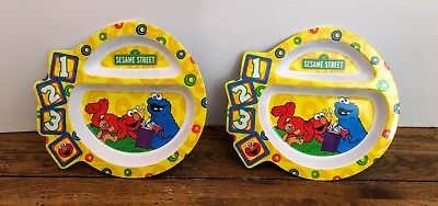 Set Of Two 2007 Sesame Street First Years Childrens Plates Cookie Monster Elmo