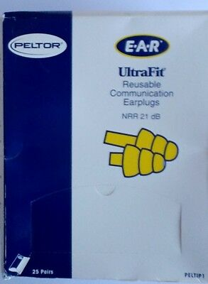Peltor NRR21 Hearplugs Reusable Communication Earplug Ultrafit 25 Pairs