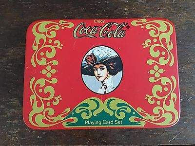 Coca cola Cards in Tin pad pencil not used
