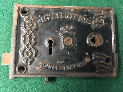 Antique Cast Iron Fancy Victorian Era Rim Door Lock Patented July 21, 1863