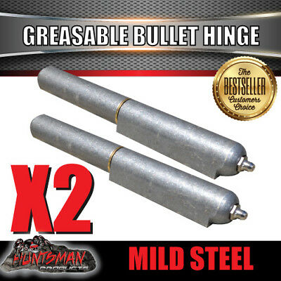 X2 Steel Greasable Bullet Hinges, Brass Pin & Washer 200mm x 23mm Tailgate Door