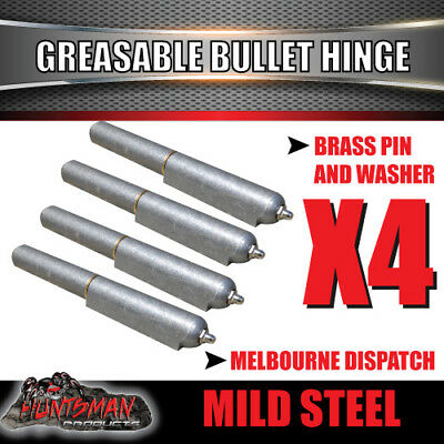 X4 Steel Greasable Bullet Hinges, Brass Pin & Washer 200mm x 23mm Tailgate Door