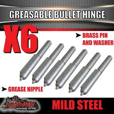 X6 Steel Greasable Bullet Hinges, Brass Pin & Washer 200mm x 23mm Tailgate Door