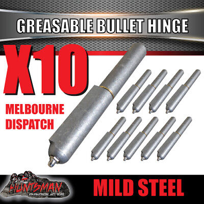X10 Steel Greasable Bullet Hinges Brass Pin & Washer 200mm x 23mm Tailgate Door