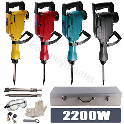 Industrial 2200 Watt Electric Demolition Jack Hammer Concrete Breaker Metal Box