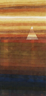 STUNNING, HAUNTING CANVAS/PAPER Solitary YACHT sunset bon voyage sea PAUL KLEE