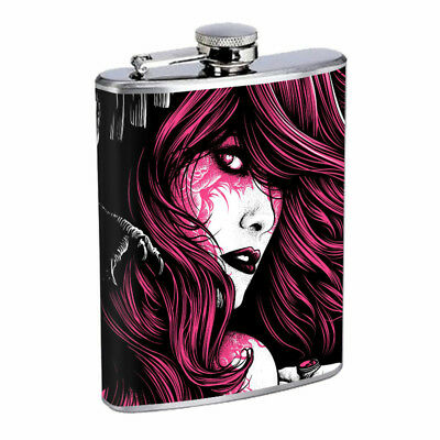 Red Head Girl Tattoo Rose Em1 Flask 8oz Stainless Steel Hip Drinking Whiskey