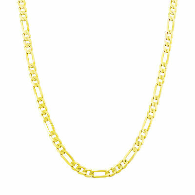 """14K Yellow Gold 4.5mm Italian Figaro Chain Link Necklace Mens Women 22"""" 22in"""