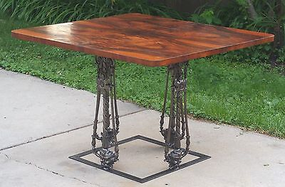 Antique Victorian Cast Iron Rosewood Table Architectural Salvage Gothic Faces