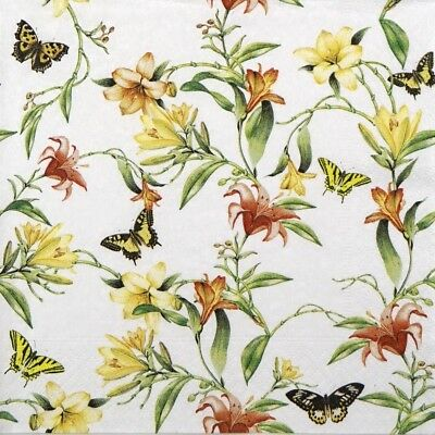 4x Paper Napkins for Decoupage Decopatch Craft Flower Harmony
