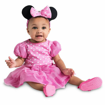 NWT Disney Store 6 9 12 18 24 Mos Minnie Mouse Baby Costume Bodysuit Headband