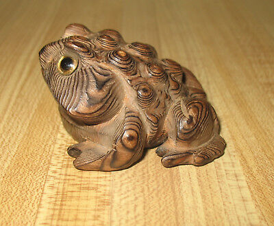 Vintage Norcrest Wooden Carved Cryptomeria Horny Toad Frog Glass Eyes 2 1/4""
