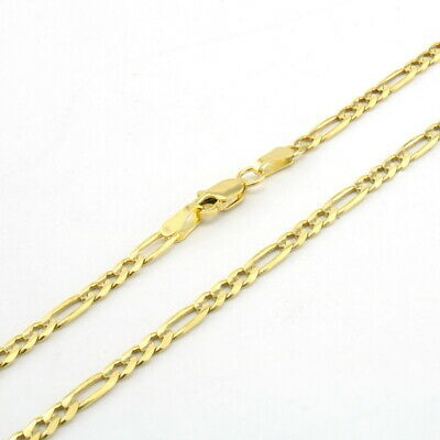 "10K Yellow Gold REAL 2.5mm Italian Figaro Link Chain Pendant Necklace 24"" 24in"