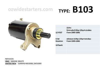 Evinrude / Johnson starter motor suits 9.9hp - 15hp 4 strokes from 1995 - 2001