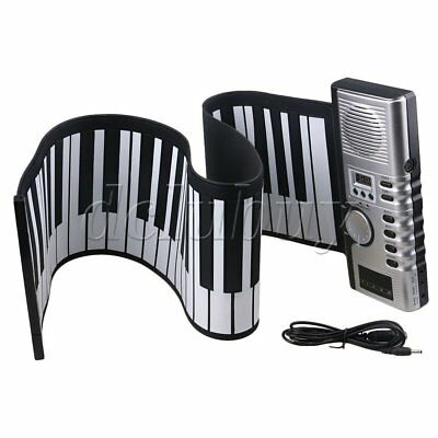 Black Portable 61 Keys Soft Roll Up Piano Electronic Silicone Keyboard