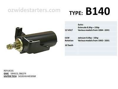 Evinrude / Johnson starter motor suits 9.9hp - 15hp from 1993 - 2001